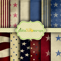 Patriot Vol1 - 12 Digital Scrapbook Papers - 8.5x11inch - Textured Printable Paper Backgrounds - INSTANT DOWNLOAD
