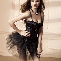 Black Spaghetti Strap Corset with Tutu Skirt