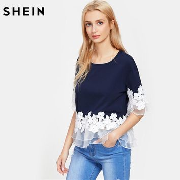 SHEIN Lace Applique Layered Mesh Trim Tee Navy Half Sleeve T shirts Women 2017 Summer Round Neck Elegant T-shirt