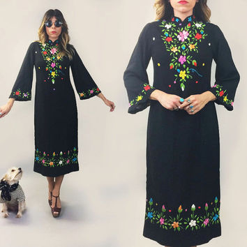 Vintage 1960's 1970's MEXICAN Artisan Floral Embroidered Bell Sleeved Bohemian Hippie Gypsy Shift Dress || Deadstock Unworn || Size Small