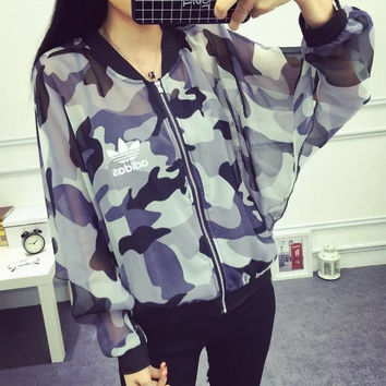 """Adidas"" Fashion Camouflage Print Ultra Thin Hollow Long Sleeve Zip Cardigan Sunscreen Clothes Coat"