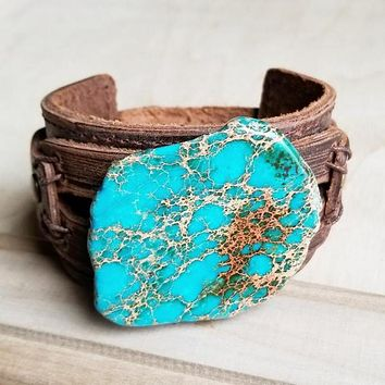 Handcrafted Dusty Leather Wide Cuff