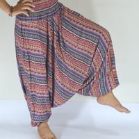 Thai handmade/Red and orange Green stripes Harem Pants/Yoga Boho Pants/Paint design/Drawstring elastic waist/Comfortable/Boho Pant/Trousers.