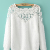 Floral Crochet Lace Long Sleeve Mohair Sweater