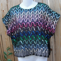 Rainbow of colors sequin oversized shirt by myliltreasureboxx