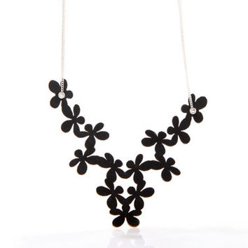 Iskin Florencia Necklace - Leather - Flowers - Contemporary Jewelry - Laser Cut leather - Designer