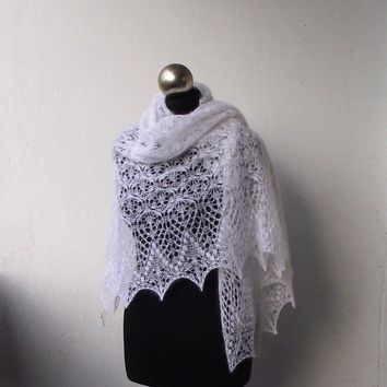 White knit lace shawl, hand knitted lace stole ,bridal shawl , white kid mohair and silk shawl,bridal cover up