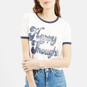 Women's Topshop 'Happy Thoughts' Graphic Tee ,