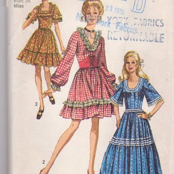Vintage 1970s pattern for country western square dance dress in 2 lengths + neckline variations misses size 12 bust 34 Simplicity 8875 UNCUT