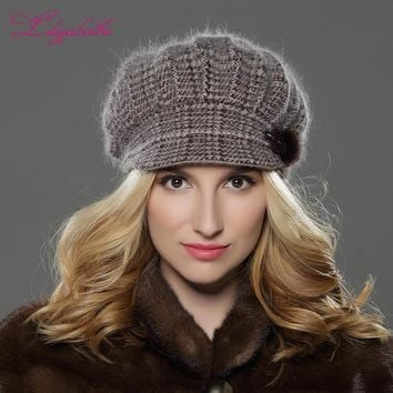 LILIYABAIHE NEW Style Women Winter  hat brim hat  knitted wool angora hat Geometric mink flower decoration cap Double warm hat