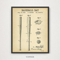 Baseball Bat Patent Print, Digital Download, Baseball Party Decor, Bat Blueprint Poster, Baseball Coach Gifts, Baseball Sports Decor, MLB