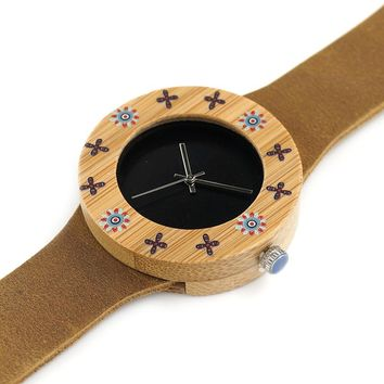 Women's BOBO BIRD Bamboo Quartz Watch with 22 Inch Leather Band.   Band Width is 0.75 Inches.   ***FREE SHIPPING***