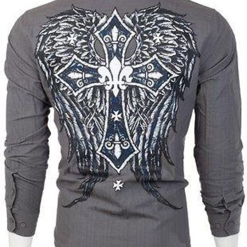 Licensed Official Eighty Eight AFFLICTION Mens BUTTON DOWN SHIRT Express Roar UFC Jeans $68 (5)
