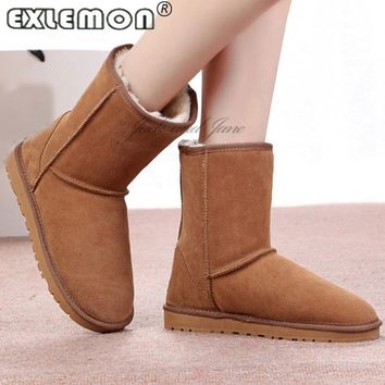 2017 Sale Australia Long barrel High Flat Tall Felt with Real Genuine Leather Winter Snow Boots Furry Cheap China Shoe Women for