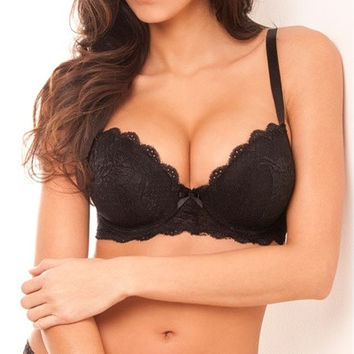 Women Bra Plus Cup Black Color Sexy Lace Full Cup Bra 32-44 D/DD/DDD [8833912460]
