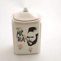 Mr. T Tea Canister - Countertop Tea container for kitchen - Mr. Tea - gift for tea drinker - home and living - roses and lace