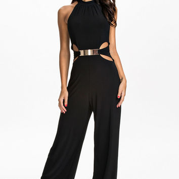 Black Flared Sleeveless Jumpsuit with Cut-Outs