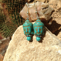 Faux Turquoise Buddha Earrings, spiritual jewelry