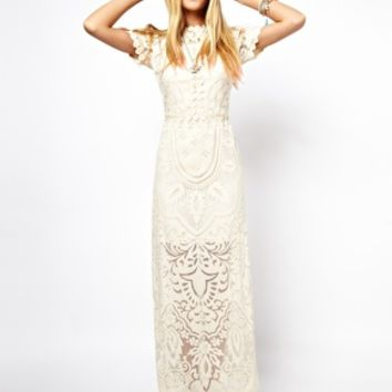 ASOS SALON Applique Lace Maxi Dress at asos.com