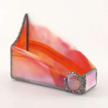 Business Card Holder - Stained Glass - Office Desktop Accessories - Orange and White Glass - Handmade