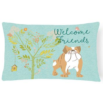 Welcome Friends English Bulldog Canvas Fabric Decorative Pillow BB7602PW1216
