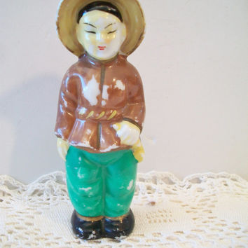 Vintage Tradional Asian Woman Figurine Ethnic Oriental