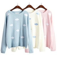 2016 Women Sweaters and Pullovers Korean new Winter kawaii harajuku cute 3D clouds pullover Oversized sweater women