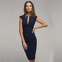 Spring Summer Sexy Pencil Fashion Women Elegant Solid Sleeveless Bodycon Sheath V-Neck Club Evening Party Dresses Vestido