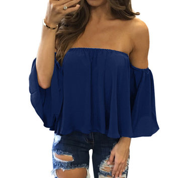 2017 Sexy Off Shoulder White Blouse Women Ruffle Slash Neck Chiffon Shirt Blouse Spring Blouses Top Short Style Blusas GV515