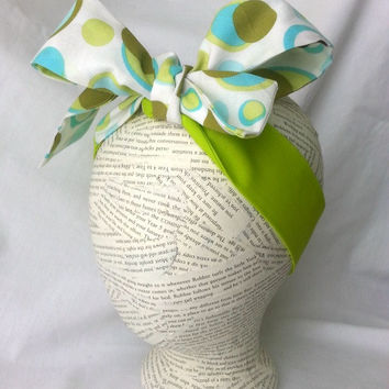 Polka Dot Head Wrap - headwrap - baby headwrap - big bow tie head wrap - girls hair accessory - retro headwrap - knot headband - lime green