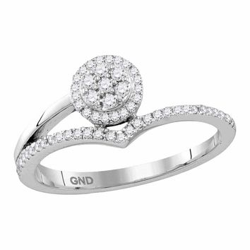 10kt White Gold Women's Round Diamond Cluster Chevron Fashion Ring 1-4 Cttw - FREE Shipping (US/CAN)