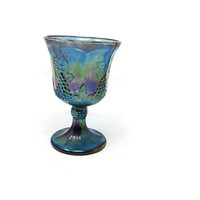 Iridescent Blue Depression Glass Goblet, Grapevine Depression Glass Goblet