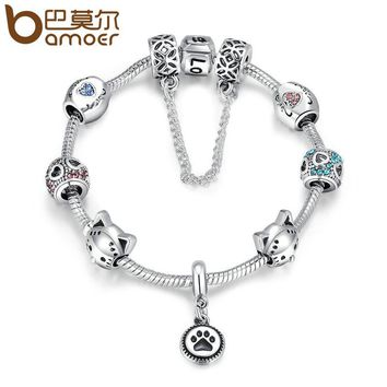 BAMOER Fashion New Silver Color Doggy Footprints Heart Charm Safety Love Chain Strand Women Bracelets DIY Jewelry Making PA1512
