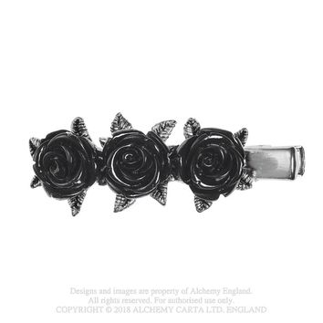 Alchemy Gothic Wild Black Rose Hair Slide