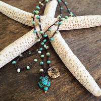 """Surfing Turtle Crochet Knotted Multi Wrap Bracelet, Necklace, Anklet """"Surfer Chic"""" Turquoise Blue by Two Silver Sisters"""