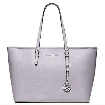 Michael Kors Jet Set Travel Medium Top Zip Multifunction Leather Tote