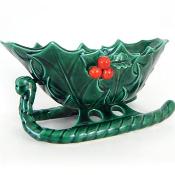 Vintage Lefton China Green Holly Sleigh Planter - Collectible Retro Christmas Decor Planter Pot Vase - Red and Green Holiday Table Decor