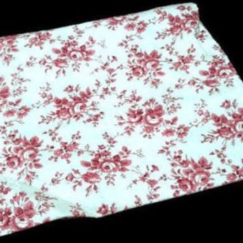 "Vintage Marcus Brother Textiles 75"" x 35"" Drapery Fabric Piece Pink And White Floral Pattern Cotton Blend Quilting Fabric Calico Pattern"