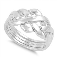 925 Sterling Silver Infinity Puzzle Knot Ring 11MM