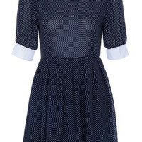 ROMWE | Dots Printed Dark Blue Dress, The Latest Street Fashion