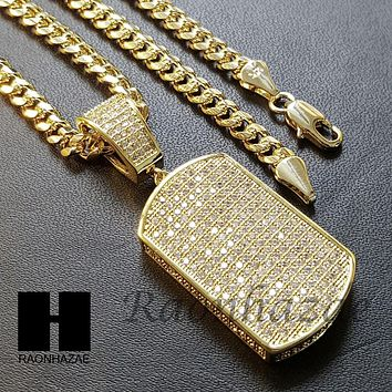 Iced Out Lab Diamond 14K Gold PT Dog Tag Pendant w/ 4mm Cuban Chain B07G