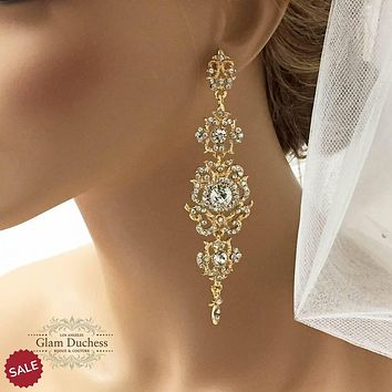 Victorian Inspired Gold Crystal Bridal Chandelier Earrings