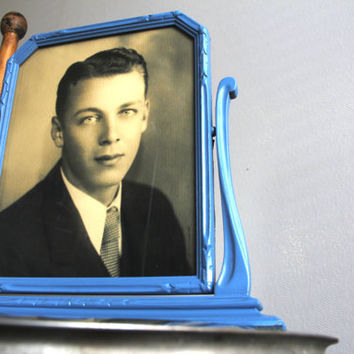 1940's Light Blue Swiveling Picture Frame with Picture