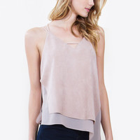 Neutral Suede Top