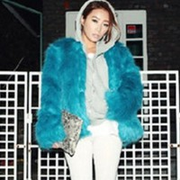 Imitation fur coat brief paragraph flush coat Acid blue