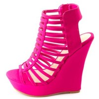 Bamboo Super Strappy Caged Platform Wedges - Magenta