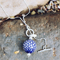 Fuzen Silver and Porcelain Necklace in Navy Weave