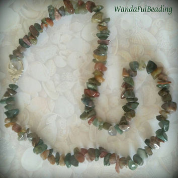 Fancy Jasper Gemstone Chip Beaded Necklace - $18.00 - Handmade Jewelry, Crafts and Unique Gifts by WandaFulBeading