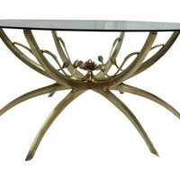 Midcentury Brass Lotus Coffee Table