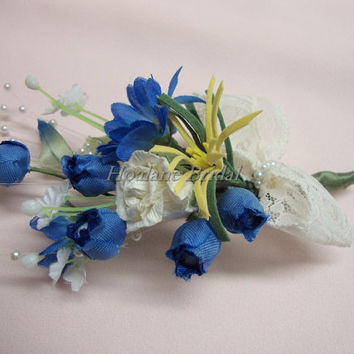 Boutonnieres, 4 Blue silk flowers boutonnieres, Wedding/Prom boutonnieres